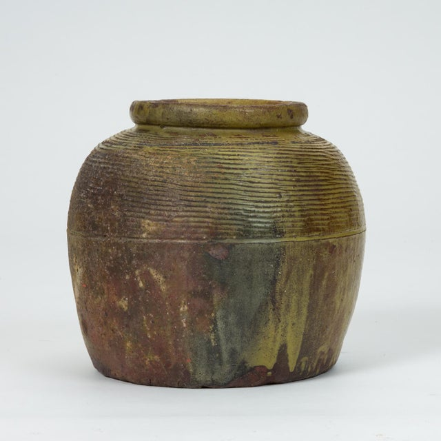 Mid-Century Modern Hand-Thrown Garden Pot With Olive Green Glaze For Sale - Image 3 of 11