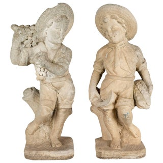 Pair of Italian Cast Stone Garden Statues For Sale