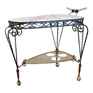 Art Deco Wrought Iron Marble Top Bar Cart For Sale