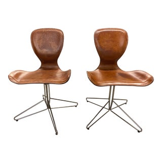 Vintage Leather Seated Desk Chair - a Pair For Sale