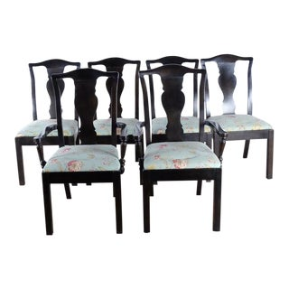 Modern Bassett Expresso Wooden Dining Chairs- Set of 6 For Sale
