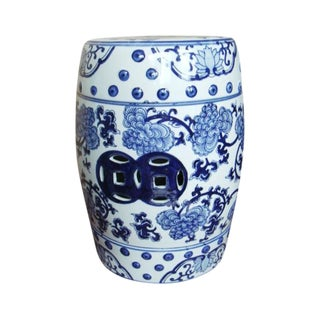 Contemporary Blue and White Floral Porcelain Garden Stool For Sale