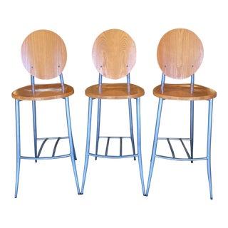 Cherry Finish & Aluminum Base Barstools - Set of 3 For Sale