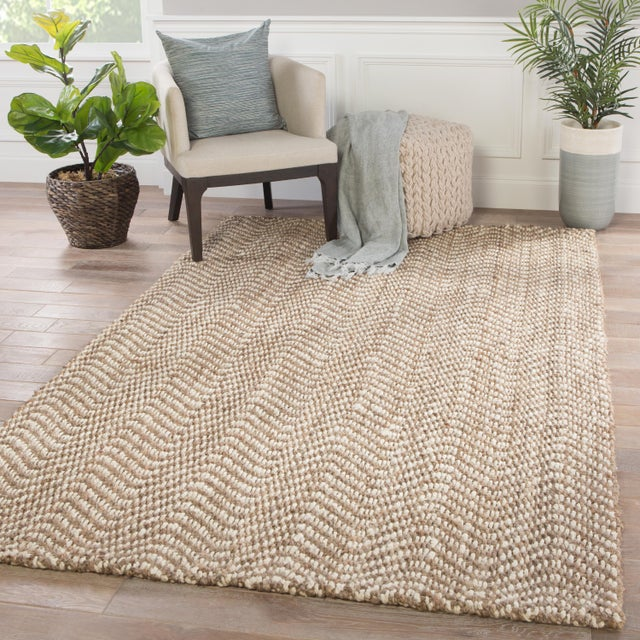 2010s Jaipur Living Alix Natural Chevron Taupe/ White Area Rug - 5′ × 8′ For Sale - Image 5 of 6