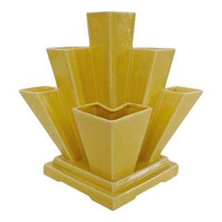 Vintage Japanese Art Deco Yellow Sculptural Vase For Sale
