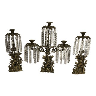 Antique Brass Crystal Prism Girandole Candelabra - Set of 3 For Sale