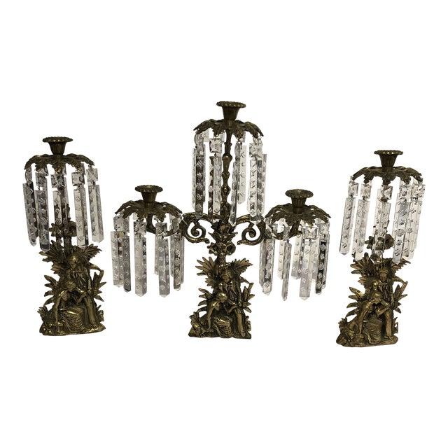 Antique Brass Crystal Prism Girandole Candelabra - Set of 3 For Sale