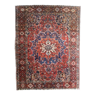 Vintage Hand Knotted Wool Persian Baktiari Rug - 9′ × 12′2″ For Sale