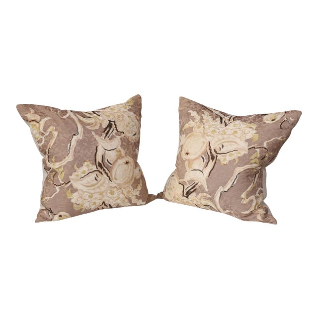 Pair of Silk Cushions For Sale