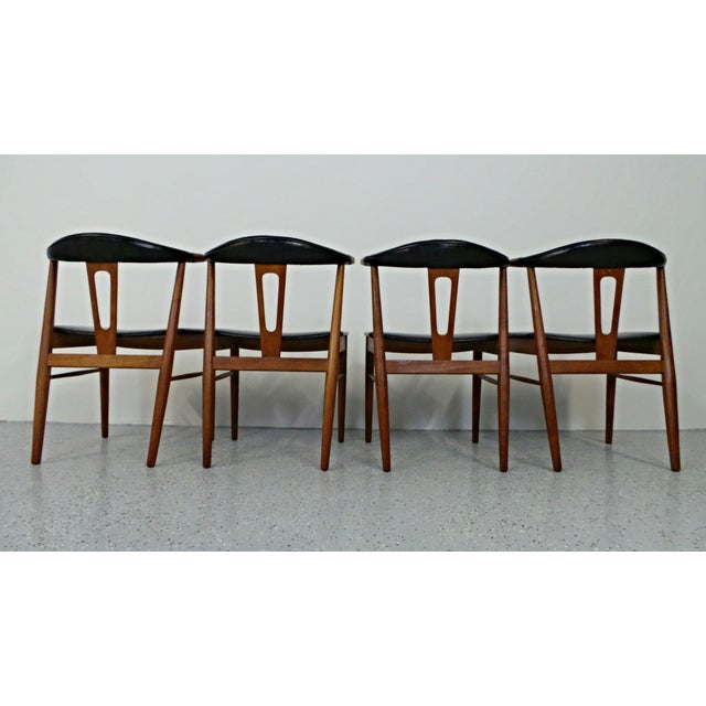 Hans Wegner Style Teak Leather Dining Chairs - 4 - Image 7 of 10