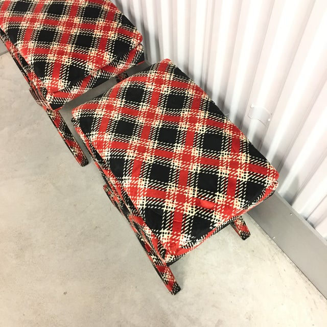 1950s Velvet Plaid X Bench Stools- a Pair For Sale - Image 5 of 7