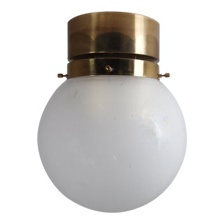 Mid Century Ceiling Light With Brass Frame and White Frosted Glass Globe 1960s For Sale