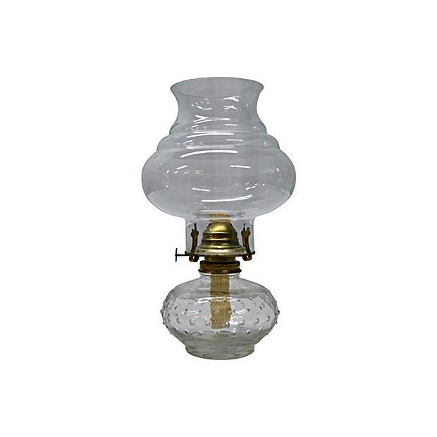 Vintage Clear Glass Oil Lamp - Image 1 of 4