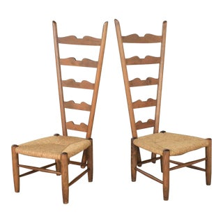 Pair of Vintage Italian Fireside Ladderback Chairs by Gio Ponti for Casa E Giardino For Sale