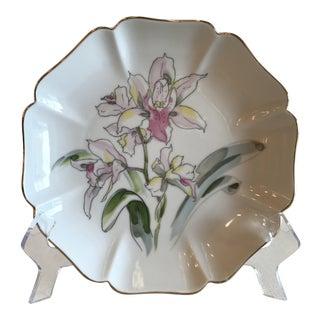 Vintage Japanese Lily Octagonal Bowl For Sale