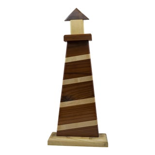 Hand-Crafted Wooden Lighthouse For Sale