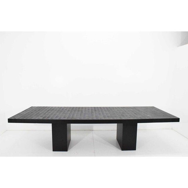 Hollywood Regency Style Ebonized Oak Dining Table and Two Leaves For Sale - Image 13 of 13