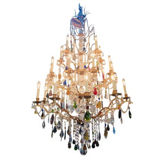 Late 20th Century Louis XIV Style Multicolored Crystal Chandelier by Schonbek For Sale