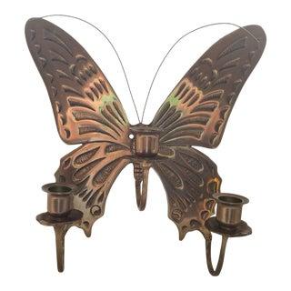 "10"" Vintage Brass Butterfly 3 Candleholder Sconce For Sale"