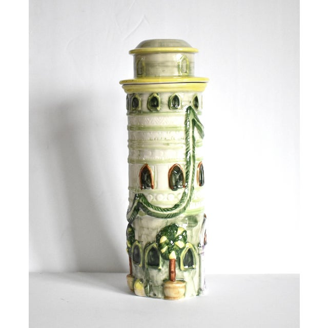 French Vintage Italian Trompe l'Oeil Castle Pasta Canister For Sale - Image 3 of 9