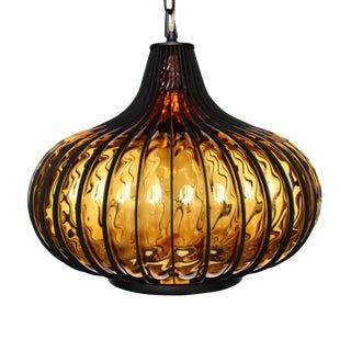 1960s LightCraft Hand Blown Amber Glass Onion Mid-Century Modern Pendant Hanging Light For Sale