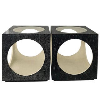 Post-Modern Cerused Style Cube Side Tables - a Pair For Sale