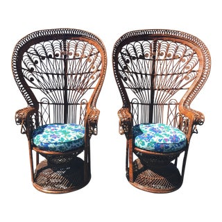 Vintage Wicker Peacock Chairs - A Pair