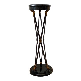 Vintage Maitland Smith Pedestal Neoclassical Revival in Tessellated Marble, Patinated Steel and Brass For Sale