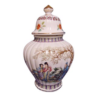 Large Fluted Ginger Jar with Asian Scene and Flowers