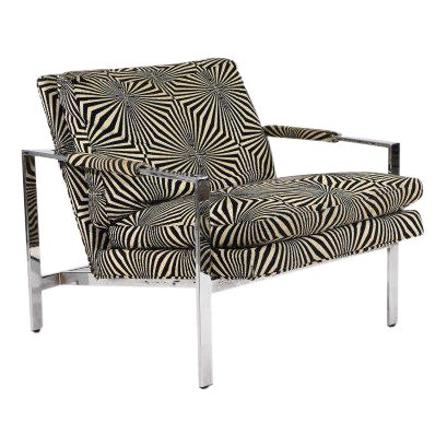 Milo Baughman for Thayer Coggin Lounge Chair with Verner Panton Fabric For Sale