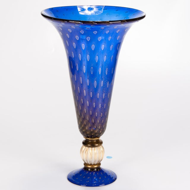 1930s Blue Murano Glass Vase For Sale - Image 5 of 5