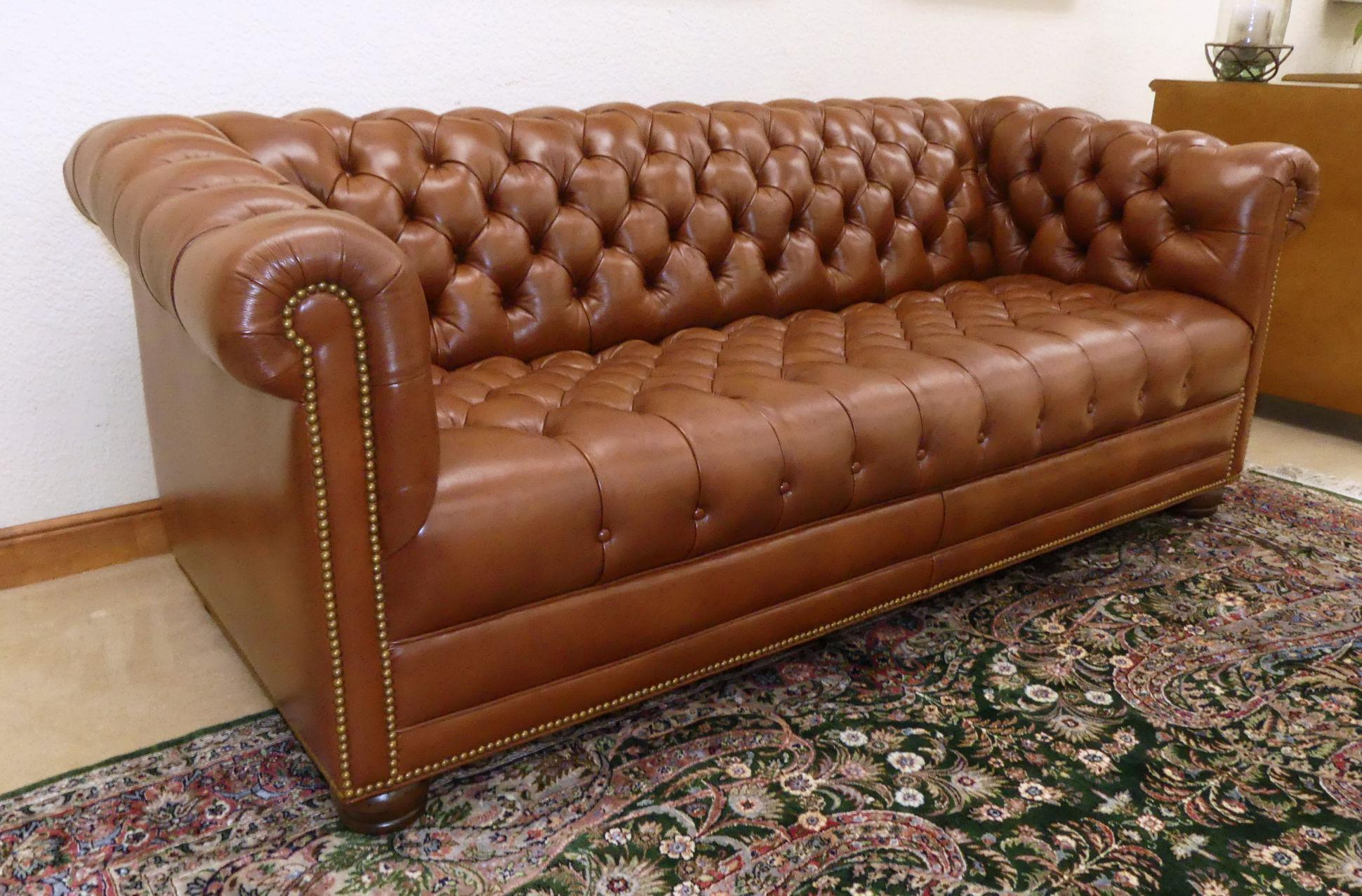 A Beautifully Kept And Minimally Used Brown Leather Chesterfield Sofa By  Hancock And Moore. Covered
