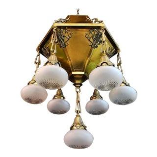 Antique Art Nouveau Brass Chandelier For Sale
