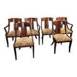 Image of 1990s Vintage Baker Neoclassical Palladian Dining Chairs - Set of 6 For Sale