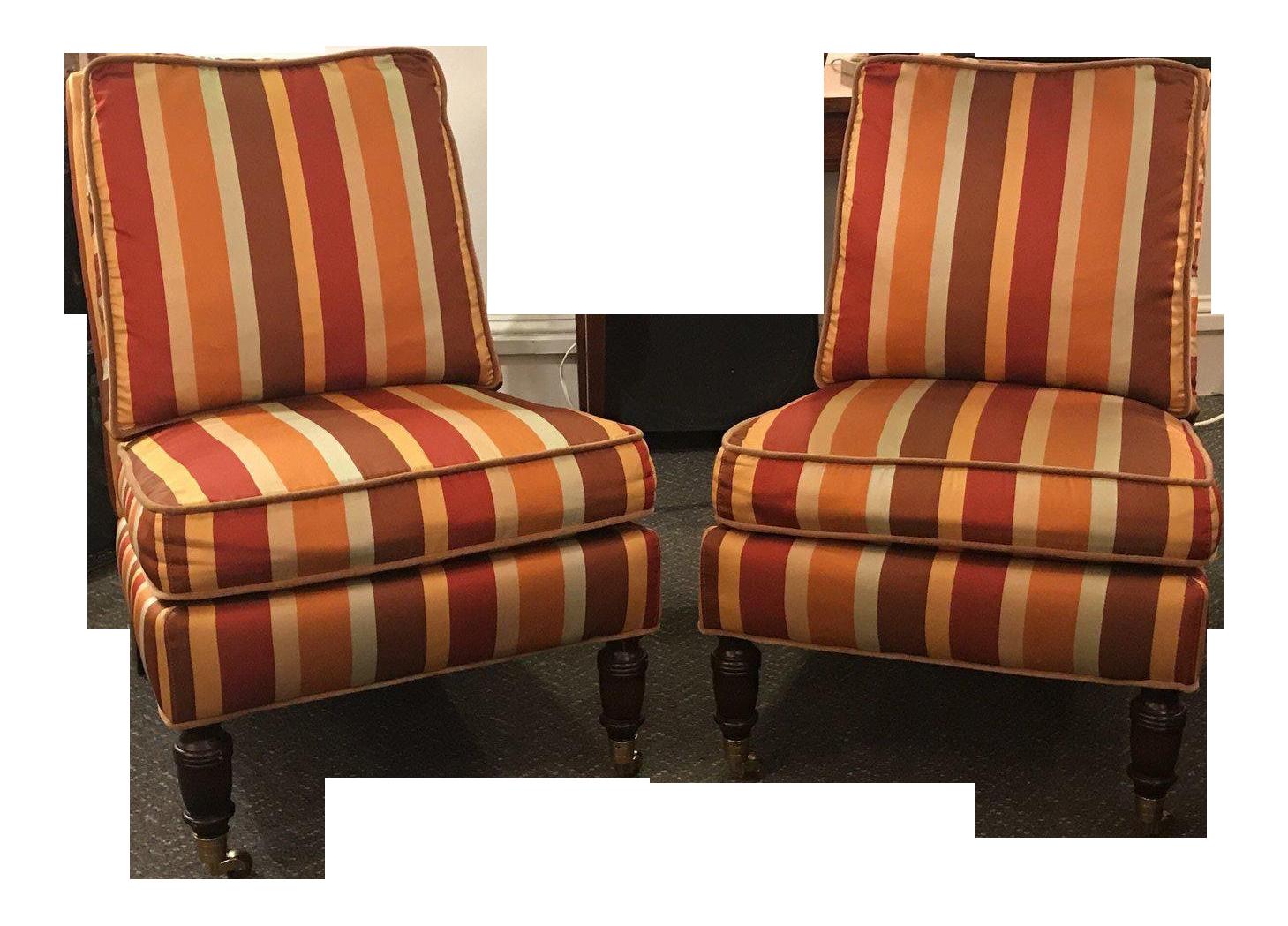 lillian august furniture. Lillian August Silk Striped Chairs - A Pair Furniture