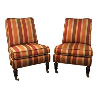 Lillian August Silk Striped Chairs - A Pair