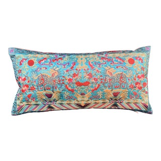 Hollywood Regency Turquoise & Gold Silk Embroidered Foo Dogs Chinoiserie Boudoir Lumbar Pillow For Sale