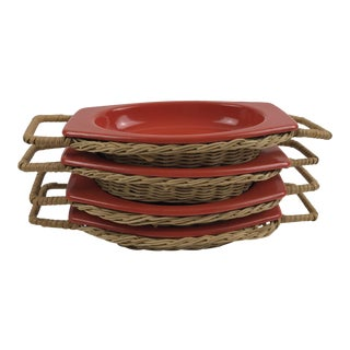 Dynasty Ware Wicker & Enamel Serving Platters - Set of 4