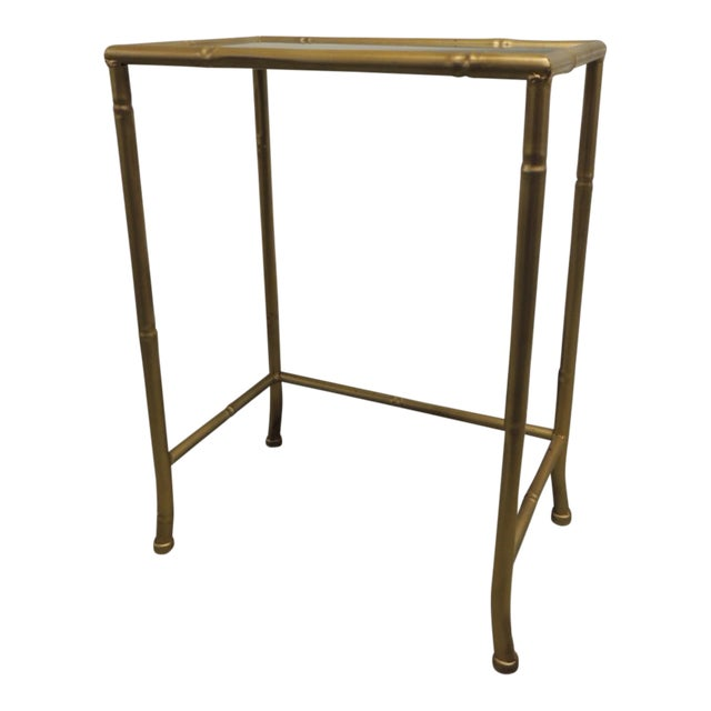 Small Metal gold phone table with glass inset top - Image 1 of 4