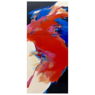 """""""Red Wind"""" Acrylic on Canvas Diptych Painting by Mary Jane Schmidt For Sale"""