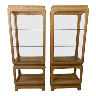 1970s Pencil Reed Bamboo Etagere Shelves - A Pair For Sale