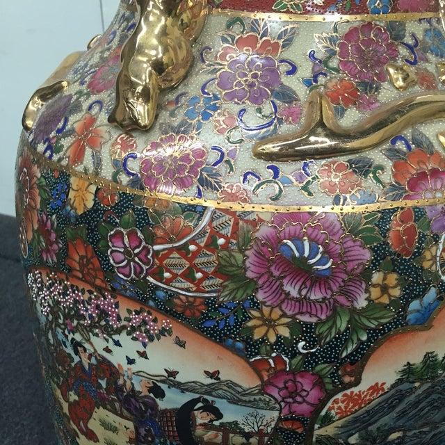 Asian Golden Floral Vase - Image 4 of 7