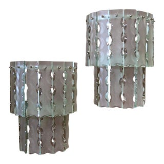Pair of Italian Beveled Glass Sconces by Cristal Art For Sale
