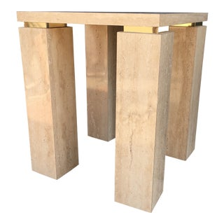 1970s Hollywood Regency Faux Travertine and Brass Lacquer Side Table For Sale