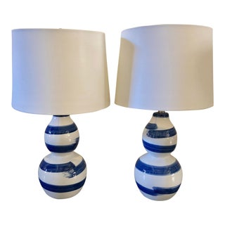 Blue & White Stroked Lamps, a Pair For Sale