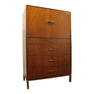 Mid-Century Danish Modern Milo Baughman Founders Walnut Gentleman/Tall Chest For Sale
