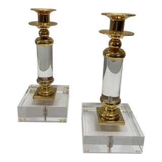 1970s Hollywood Regency Candle Holders - a Pair For Sale