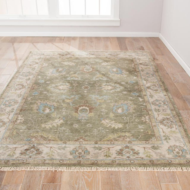 2010s Jaipur Living Geneva Hand-Knotted Floral Green & Ivory Area Rug - 2′ × 3′ For Sale - Image 5 of 6