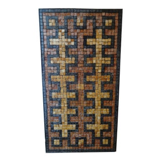 Mid-Century Greek Key Marble Mosaic Wall Art or Table Top For Sale