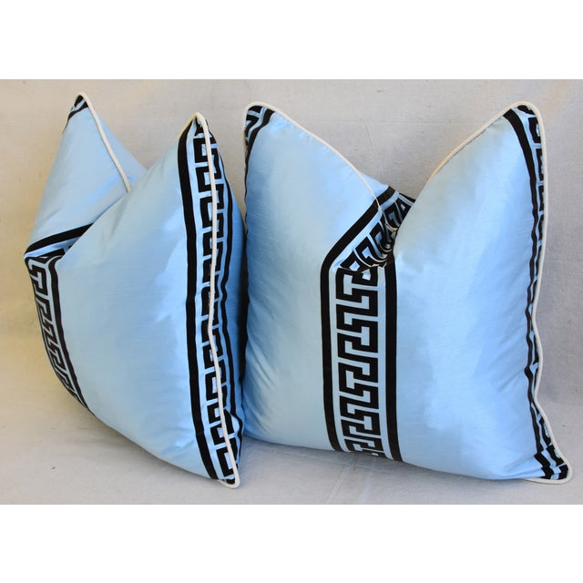 """Blue Dupioni Satin Silk Greek Key Feather/Down Pillows 23"""" Square - Pair For Sale - Image 10 of 13"""